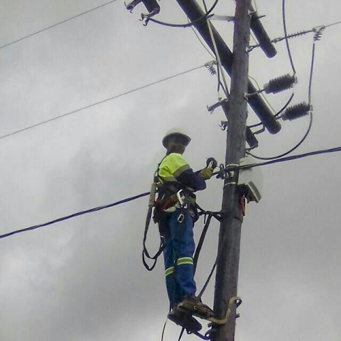 Electrician on a poll